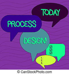 Conceptual hand writing showing Process Design. Business photo text process of originating and developing a plan for a product Speech Bubble in Different Sizes and Shade Group Discussion.