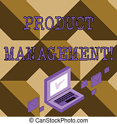 Conceptual hand writing showing Product Management. Business photo text organisational lifecycle function within a company Mail Envelopes around Laptop with Check Mark icon on Monitor.