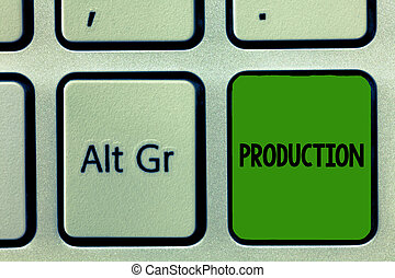 Conceptual hand writing showing Production. Business photo ...
