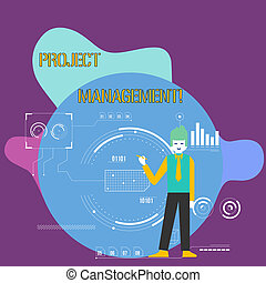 Conceptual hand writing showing Project Management. Business photo showcasing method of organizing all activities related to a project Man Holding Pen Pointing to Chart Diagram SEO Process Icons.