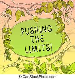Conceptual hand writing showing Pushing The Limits. Business photo showcasing test boundaries of what safe or acceptable in situation Tree Branches Scattered with Leaves Blank Color Text Space