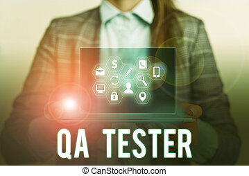Conceptual hand writing showing Qa Tester. Concept meaning Quality assurance of an on going project before implementation