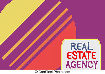 Conceptual hand writing showing Real Estate Agency. Concept meaning Business Entity Arrange Sell Rent Lease Manage Properties Cosmic planet pattern design paper cut Circle Background