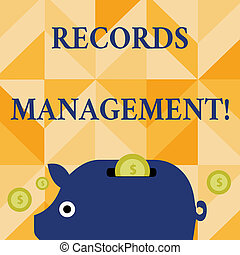 Conceptual hand writing showing Records Management. Business photo text administration of records and documented information Piggy Money Bank and Coins with Dollar Currency Sign on Slit.