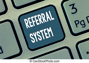Conceptual hand writing showing Referral System. Business...