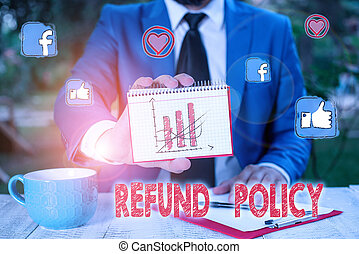 Conceptual hand writing showing Refund Policy. Business photo text refund or exchange defective merchandise previously buy.