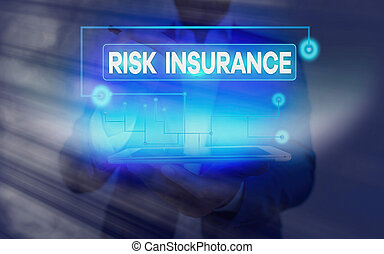 Conceptual hand writing showing Risk Insurance. Business photo showcasing The possibility of Loss Damage against the liability coverage.