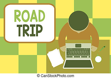 Conceptual hand writing showing Road Trip. Business photo ...