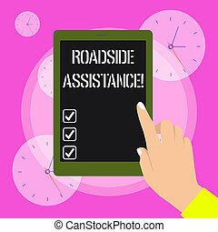 Conceptual hand writing showing Roadside Assistance. Business photo showcasing helps drivers when their vehicle breaks down on the road Female Hand with Polished Nails Pointing Tablet Screen Off.
