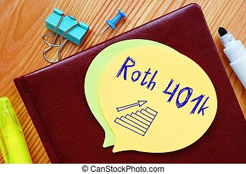 Conceptual hand writing showing Roth 401k.