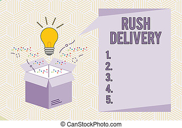 Conceptual hand writing showing Rush Delivery. Business photo text Urgency in transporting goods to customer Urgent need