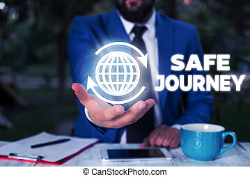 Conceptual hand writing showing Safe Journey. Business photo text Blessing Bid farewell Drive carefully Use seatbelt Strap.