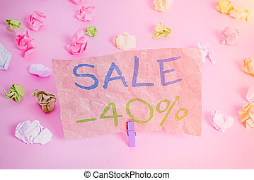 Conceptual hand writing showing Sale 40 Percent. Business ...