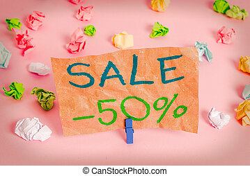 Conceptual hand writing showing Sale 50 Percent. Business ...