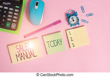 Conceptual hand writing showing Sales Manual. Business photo...