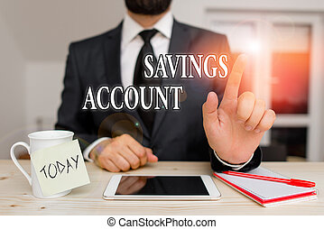 Conceptual hand writing showing Savings Account. Business photo text an interestbearing deposit account held at a bank Male human wear formal clothes present use hitech smartphone.