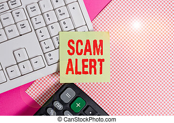 Conceptual hand writing showing Scam Alert. Business photo text fraudulently obtain money from victim by persuading him Note paper stick to keyboard near colored gift wrap on table.