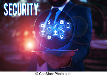 Conceptual hand writing showing Security. Business photo ...