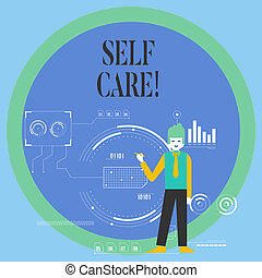 Conceptual hand writing showing Self Care. Business photo showcasing practice of taking action preserve or improve ones own health Man Holding Pen Pointing to Chart Diagram SEO Process Icons.