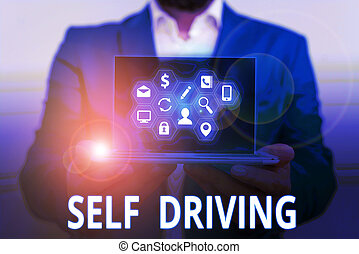 Conceptual hand writing showing Self Driving. Business photo...