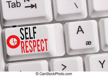 Conceptual hand writing showing Self Respect. Business photo showcasing Pride and confidence in oneself Stand up for yourself Keyboard with note paper on white background key copy space.