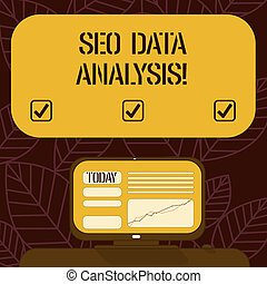 Conceptual hand writing showing Seo Data Analysis. Business photo text changes to website make it more visible search engines Mounted Computer Screen with Line Graph on Desk Text Box.
