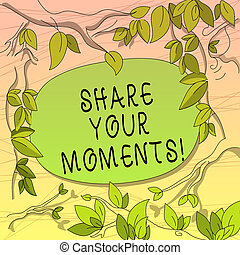 Conceptual hand writing showing Share Your Moments. Business photo showcasing tell everyone about brief period of good or bad time Tree Branches Scattered with Leaves Blank Color Text Space.
