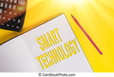 Conceptual hand writing showing Smart Technology. Business photo text gadgets or device that has a built in computer or chip Open hard cover notebook pencil marker calculator color background.