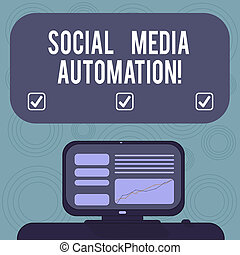 Conceptual hand writing showing Social Media Automation. Business photo showcasing Automation of posting content to social media Mounted Computer Screen with Line Graph on Desk Text Box.