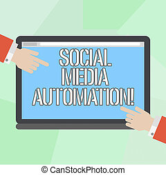 Conceptual hand writing showing Social Media Automation. Business photo showcasing Automation of posting content to social media Hu analysis Hands Pointing on a Blank Color Tablet Screen.