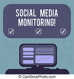 Conceptual hand writing showing Social Media Monitoring. Business photo showcasing way of computing popularity of a brand online Mounted Computer Screen with Line Graph on Desk Text Box.