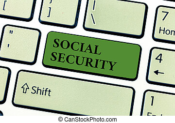 Conceptual hand writing showing Social Security. Business photo text assistance from state people with inadequate or no income