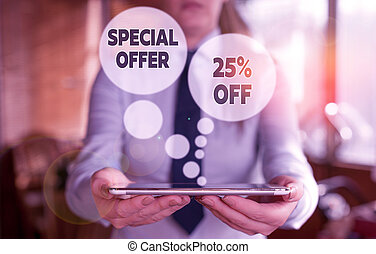Conceptual hand writing showing Special Offer 25 Off. Concept meaning Discounts promotion Sales Retail Marketing Offer Woman in the background pointing with finger in empty space