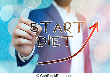 Conceptual hand writing showing Start Diet. Business photo showcasing the practice of eating food in a regulated and supervised fashion Digital arrowhead curve denoting growth development concept.