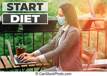 Conceptual hand writing showing Start Diet. Business photo showcasing the practice of eating food in a regulated and supervised fashion Promoting health awareness with medical equipment.