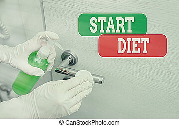 Conceptual hand writing showing Start Diet. Business photo showcasing the practice of eating food in a regulated and supervised fashion Contaminated electronic gadgets controlled by disinfectant.