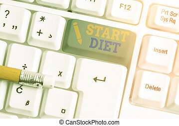 Conceptual hand writing showing Start Diet. Business photo text the practice of eating food in a regulated and supervised fashion White pc keyboard with empty note paper above white key copy space.