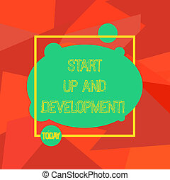 Conceptual hand writing showing Start Up And Development. Business photo showcasing New business success corporate project strategy Blank Oval photo Abstract Shape inside a Square Outline.