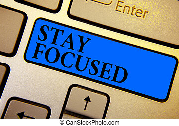 Conceptual hand writing showing Stay Focused. Business photo text Be attentive Concentrate Prioritize the task Avoid distractions Keyboard blue key create computer computing reflection document.