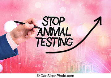 Conceptual hand writing showing Stop Animal Testing. Business photo text put an end on animal experimentation or research Digital arrowhead curve denoting growth development concept.