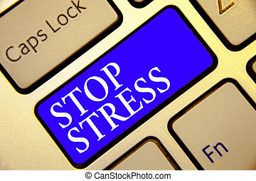 Conceptual hand writing showing Stop Stress. Business photo showcasing Seek help Take medicines Spend time with loveones Get more sleep Keyboard blue key Intention computing reflection document.