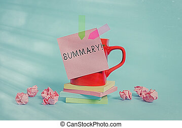 Conceptual hand writing showing Summary. Concept meaning brief statement or account of main points of something subject Coffee cup sticky note banners paper balls pastel background