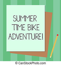 Conceptual hand writing showing Summer Time Bike Adventure. Business photo text Riding bikes during sunny season of the year Stack of Different Pastel Color Construct Bond Paper Pencil.