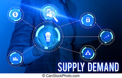 Conceptual hand writing showing Supply Deanalysisd. Business photo showcasing Relationship between the amounts available and wanted Woman wear work suit presenting presentation smart device.