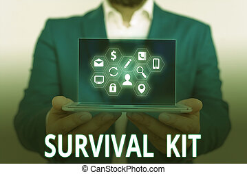 Conceptual hand writing showing Survival Kit. Business photo text Emergency Equipment Collection of items to help someone.
