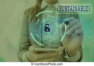 Conceptual hand writing showing Sustainable. Concept meaning the ability to be sustained, supported, upheld, or confirmed Graphics padlock for web data security application system