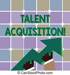 Conceptual hand writing showing Talent Acquisition. Business photo showcasing process of finding and acquiring skilled huanalysis labor Hand Holding Colorful Huge 3D Arrow Pointing and Going Up.