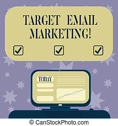 Conceptual hand writing showing Target Email Marketing. Business photo text advertisement is sent to a target list of recipients Mounted Computer Screen with Line Graph on Desk Text Box.