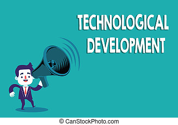 Conceptual hand writing showing Technological Development. Business photo text Invention or Innovation put into usable product