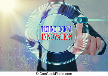 Conceptual hand writing showing Technological Innovation. Business photo showcasing New Invention from technical Knowledge of Product.